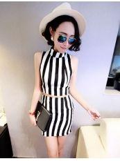 New Style Fashion Erect Stripe Chiffon Short Dress US$ 5.47 http://www.global-wholesale.net/New-Style-Fashion-Erect-Stripe-Chiffon-Short-Dress-_g33161.html