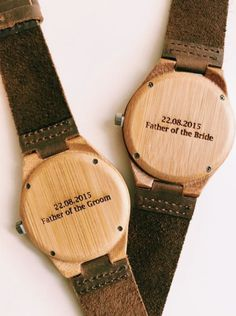 Personalized watches for the groom or the fathers of the couple. Also a great groomsmen gift idea. too.