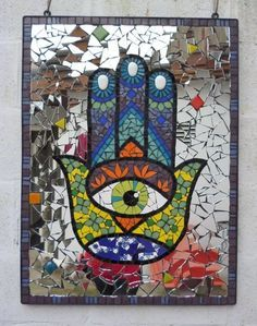 cuadro artesanal en mosaico para jardin mano de fatima