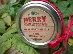 Etichette personalizzate vaso KRAFT Merry Christmas Canning, 2 pollici rotondi adesivi per regali di festa, vasi di mason, marmellata e gelatina di vasetti on Etsy, 4,83€