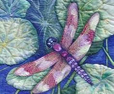 """Quilt Art - by Patt Blair - dragonfly - lily pads  - """"The Dragon Fly is a glittering jewel with nearly 500 species found in the United States alone. A 'baby' dragon fly stays near its place of birth (on or around water) for nearly 2 years before flying off to explore their world. They are so graceful!""""  Technique:  Pigment inks on cotton. Materials:  Cotton and wool fiber batting.  Price: 1,100"""