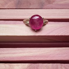 #Ring made of yellow #gold with #fuchsia massive #sapphire by #maschiogioielli #milano #contemporary #minimal #jewels