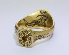 14th C. archer ring signet. Italian (Venetian). Arms of Donati. Gold and Niello.