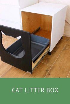 Diy Litter Box, Cat Litter Tray, Litter Box Covers, Cat Litter Box Enclosure, Cat Litter Cabinet, Pet Furniture, Modern Cat Furniture, Cat House Diy, Cat Toilet