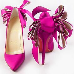CHRISTIAN LOUBOUTIN |  Pink satin anemone pumps |= (ACCESSORIES SHOW)