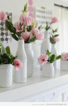 Centro de mesa sencillo y barato para decorar una boda