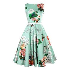 Vintage Jewel Neck Sleeveless Floral Print Belted A-Line Dress For Women - Lake Green