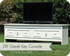 White Greek key TV console. How to add Greek key to any dresser or console.
