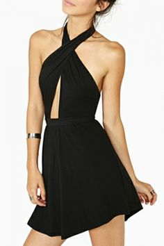 Sexy Backless Halter Dress in Black