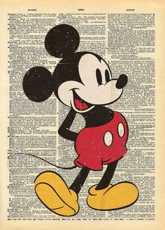 Newspaper + contact paper mickey mouse+ red and yellow food coloring + black and white splatter