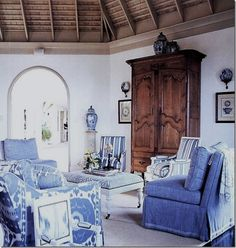 blue and white with dark wood - love!
