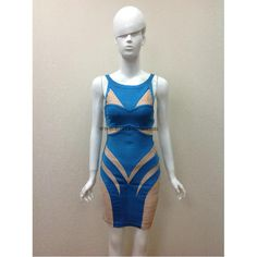 Herve Leger Blue and Apricot Halter Sexy Bandage Dress H227LBA