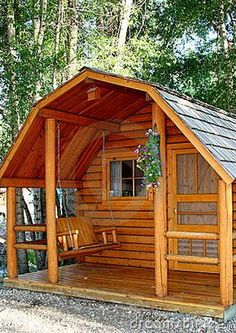 Tiny Cabin Living This isn't an interior but I thought it was a nice style Small Cottage House Plans, Small Cottage Homes, Tiny House Cabin, Tiny House Living, Cozy Cottage, Small Cabin Plans, Small Log Cabin, House Porch, Cozy Cabin