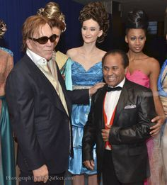 Mickey Rourke star from the movie Black November at the movie screening in the United Nations. Models in the background wearing Andres Aquino designs