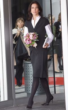 Nice office look, Crown Princess Mary of Denmark in a long sleeve white blouse under a little black dress; LBD, work attire