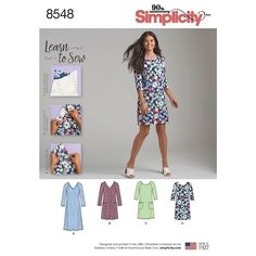 Learn to sew this easy Misses& knit dress by Simplicity. With this pattern and sewing instructions, you will learn to sew with stretch knit fabrics, sew a dart in a raglan sleeve, apply a stretch neck band, and apply a stretch lower band. Simplicity Sewing Patterns, Dress Sewing Patterns, Sewing Patterns Free, Sewing Hacks, Sewing Tutorials, Sewing Tips, Sewing Ideas, Leftover Fabric, Love Sewing