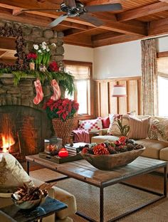 Christmas at the cabin…..I like the bread bowl filled with natural pinecones, red pinecones and ornaments.