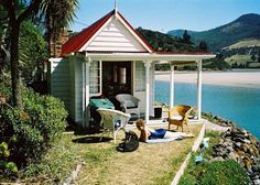 Historic Seaside Cottage in Purakanui Inlet, Dunedin Area Fishermans Cottage, New Zealand Beach, Old Cottage, Cottage Living, Living Room, Beach Shack, Holiday Accommodation, Farm Gardens, Planting Flowers