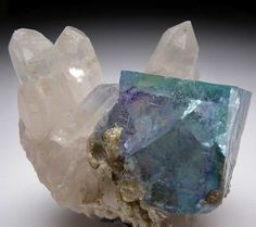 Fluorite on Quartz,China