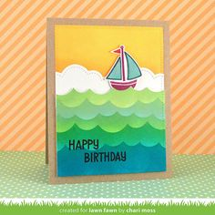 Lawn Fawn Float My Boat card by Chari Moss (using new ink colors and Ocean Wave Borders).