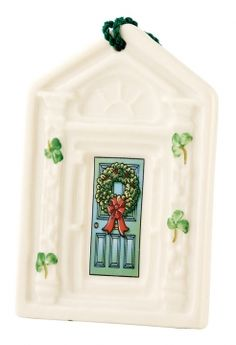 """Spread a little joy during the festive season with beautiful handcrafted Irish Christmas ornaments from Belleek. The Dublin Doorway Ornament is handcrafted in Ireland of fine Parian China. 2.5""""W x 3.5""""H."""