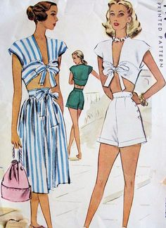 40s Pin Up Playsuit Pattern Midriff Top, High Waist Shorts and Skirt McCall 6812 Vintage Sewing Pattern Bust 30
