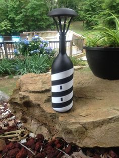 Solar Light Lighthouse by CWsLittleLightofMine on Etsy - Solar lights garden, G. - Solar Light Lighthouse by CWsLittleLightofMine on Etsy – Solar lights garden, Garden crafts, Bot - # Garden Crafts, Garden Projects, Garden Art, Diy Projects, Diy Garden Decor, Solar Light Crafts, Diy Solar, Wine Bottle Art, Wine Bottle Crafts
