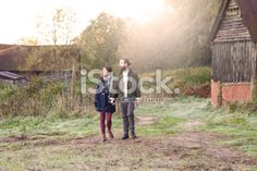 Young couple on a country walk Royalty Free Stock Photo