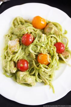 """Lexi's Clean Kitchen – Creamy Pesto Chicken """"Pasta"""" - replace the parmesan with greek yogurt for a creamy sauce"""