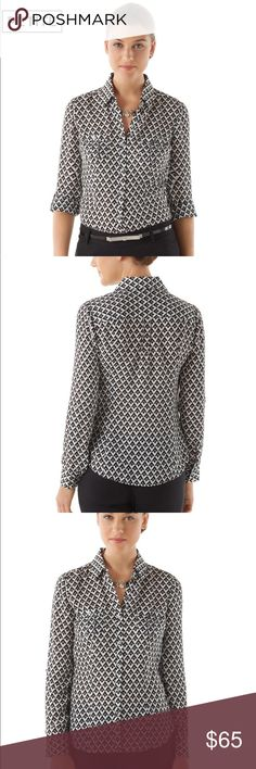 PETITE SILK GEO-PRINT CITY CAMP SHIRT Size 14P Brand new with tags!!! Sold out in stores!! Silk camp shirt with classic details and a modern geo print proves diamonds are still a girl's best friend. 100% Silk. Hand wash. Imported. Princess-seamed fit. Long sleeve has two-button placket cuff and roll tab. Point collar with open-V above button placket. Buttoned chest pocket with pleat detail. Center pleat detail beneath back yoke. Shirttail hem. Silvertone buttons. Unlined. Hits at the lower…