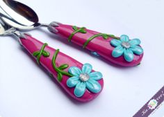 Utensil Set Spoon and Fork Middle Size Pink and Blue Flower for Girl Unique Birthday Gift Polymer clay Cutlery Set By RadArta