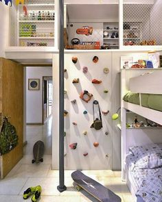 climbing wall in a kids' room