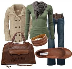 Super cute... love the flats but would also work with a rustic leatherbrown pump/ love the sweater and jean look...