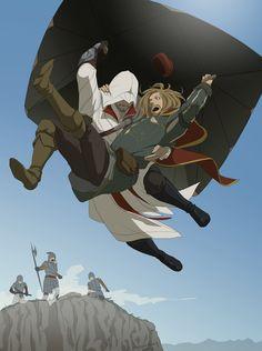 To the Rescue by doubleleaf.deviantart.com #fanart Assassin's Creed - Ezio and Leonardo