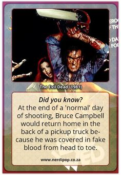 We are counting down to Halloween with Nerdipop's top Horror Movies! Grab your striped sweater and hockey mask! Evil Dead 1981, Halloween Countdown, Fake Blood, Pop Culture, Fun Facts, Horror, Sci Fi, Cards, Science Fiction