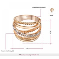 Ring Rose Gold Color for Women - Arsamas Womens Wedding Bands, Color Ring, Affordable Jewelry, Rose Gold Color, Rose Gold Engagement Ring, Body Jewelry, Jewlery, Crystal Jewelry, Rose Gold Plates