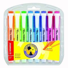 Stabilo Swing Cool Highlighter Pens Markers in Plastic Wallet of 8 -