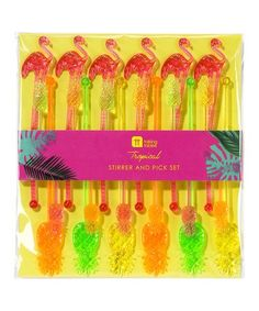 Another great find on #zulily! Tropical Fiesta Pineapple & Flamingo Stirrers & Picks Set #zulilyfinds