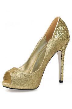 Sapatos de Salto Lantejoula Ocasião especial Peep Toe Material do sequin