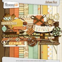 Autumn Haze free digital scrapbooking mini kit from Mommyish-this site has lots of FREE CUTE kits!