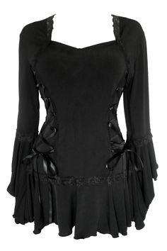 Gothic Black Lace Sequin Detail NIGHTFALL Wide Sleeve Top 8 10 Vintage Vampire