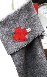 salvage- red cross wool stocking