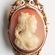 Hardstone cameo of a woman in profile to the right, white on pink-grey background.  31 x 57mm.  €1900 Gray Background, Pink Grey, Vintage Jewelry, Profile, Paris, Jewels, Woman, Antiques, User Profile