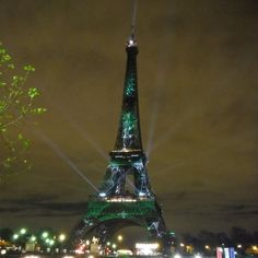 Green Eiffel Tower #COP21 #Paris #France #EiffelTower #TourEiffel #climat #ecology #écologie #earth #nature #city #instapic #lights #CityLights #love #hope #future by elodierougee Eiffel_Tower #France