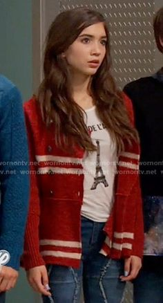 Riley's red striped knit jacket and Eiffel Tower top on Girl Meets World.  Outfit Details: https://wornontv.net/55761/ #GirlMeetsWorld