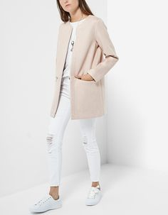 Coat in two fabrics - Denim Jackets Winter Sale, Casual Looks, Outfit Of The Day, White Jeans, Duster Coat, Normcore, Fashion Outfits, Fabric, How To Wear