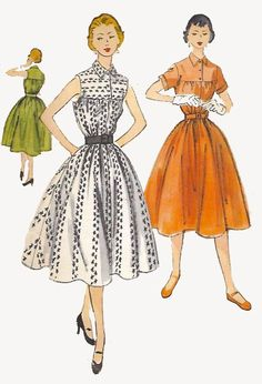 "Vintage 1950's Sewing Pattern  Rockabilly Full Skirt Dress Ultra Rare B 29"""
