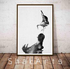 Hippo, Hippopotamus Art, Hippopotamus Gift, Nursery Art, Safari Nursery Print, Nursery Safari Print, Kid Room, Safari Nursery, Nursery Decor