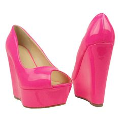 Womens Platform Sandals Patent Leather Peep Toe Wedge High Heel Shoes Pink