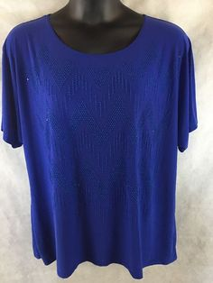 Womens Forever Jade Blue Blouse Tunic W/  Beading And Sequins SZ 2X Top USA Made #ForeverJade #Blouse